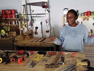Tonya Gosby in her home woodworking studio